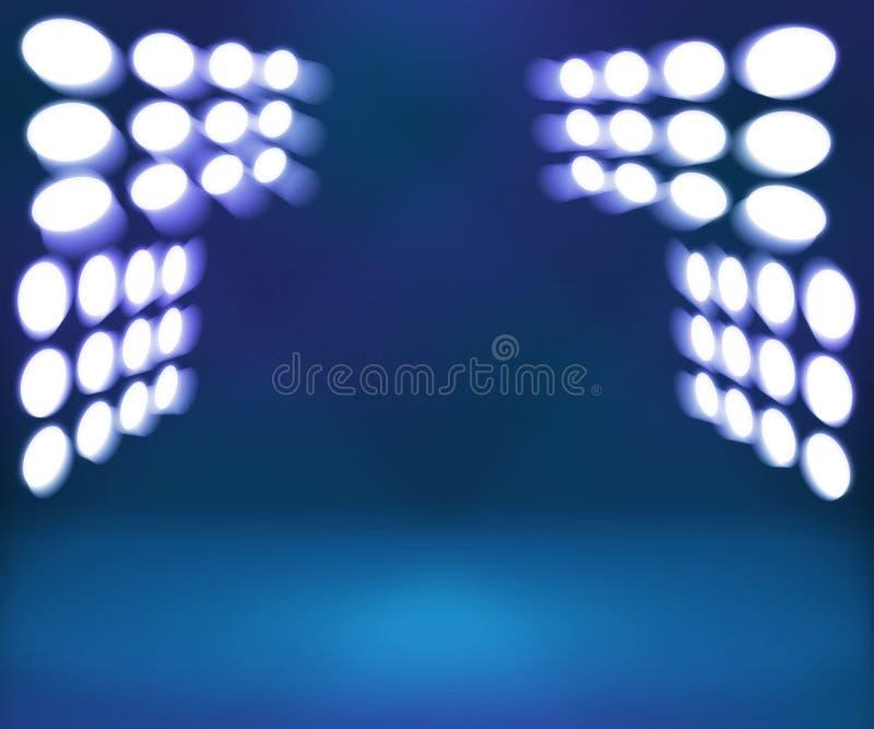 Priorità bassa di fase blu della stanza del riflettore fotografie stock libere da diritti