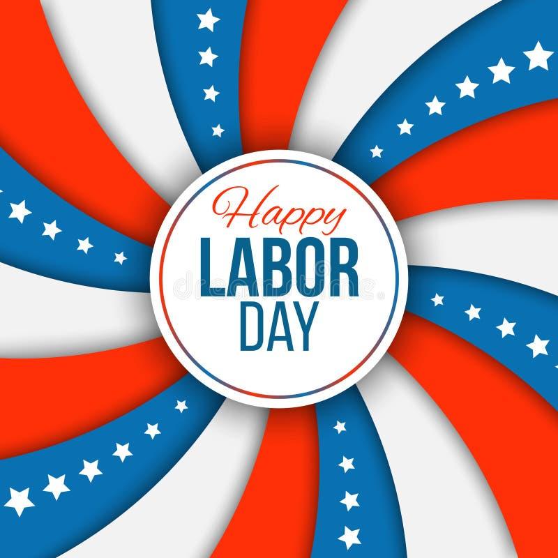 Priorità bassa di Festa del Lavoro Illustrazione di vettore con lo stelle e strisce per festa nazionale americana illustrazione di stock