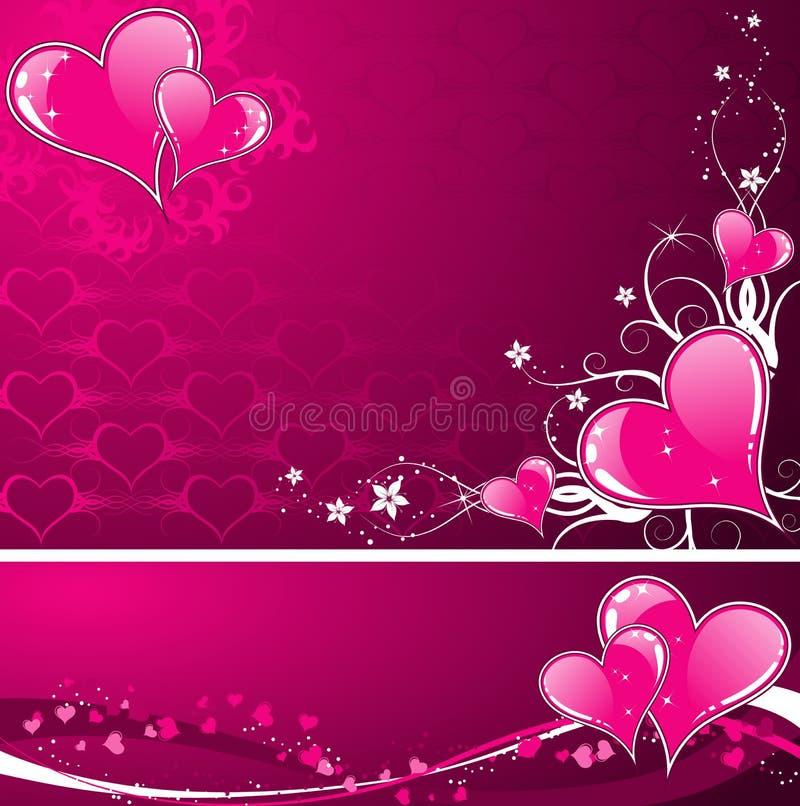 Priorità bassa di giorno dei biglietti di S. Valentino con i cuori e i florals royalty illustrazione gratis