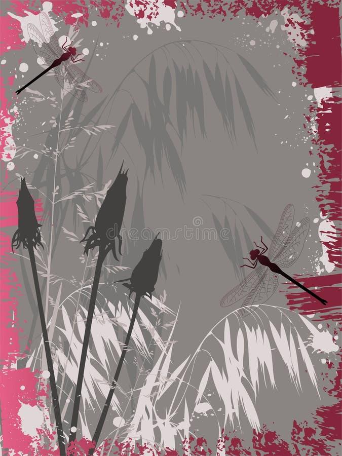 Priorità bassa di Grunge con i fiori illustrazione di stock