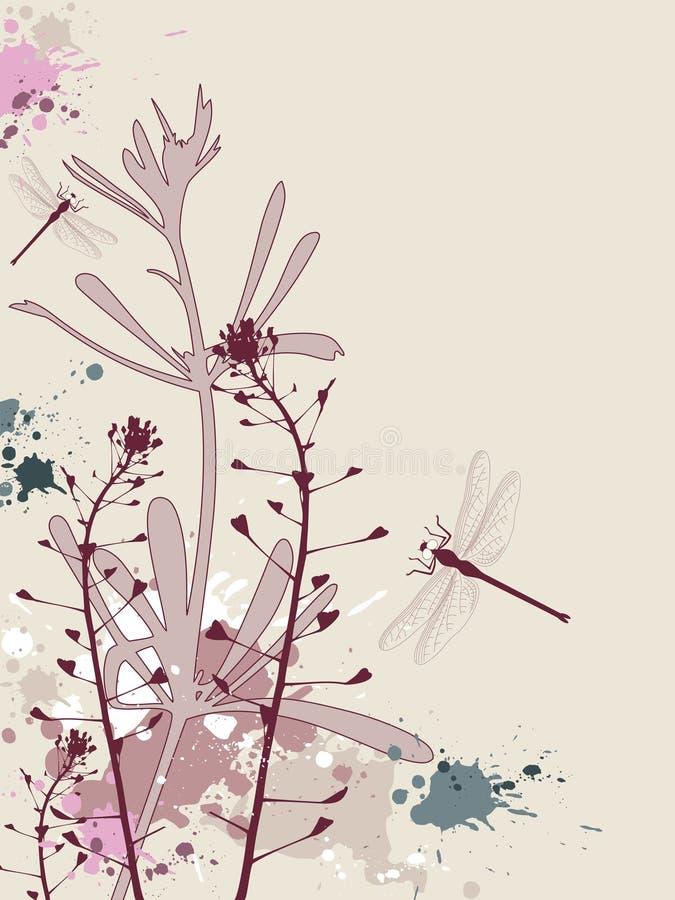 Priorità bassa di Grunge con i fiori e la libellula royalty illustrazione gratis