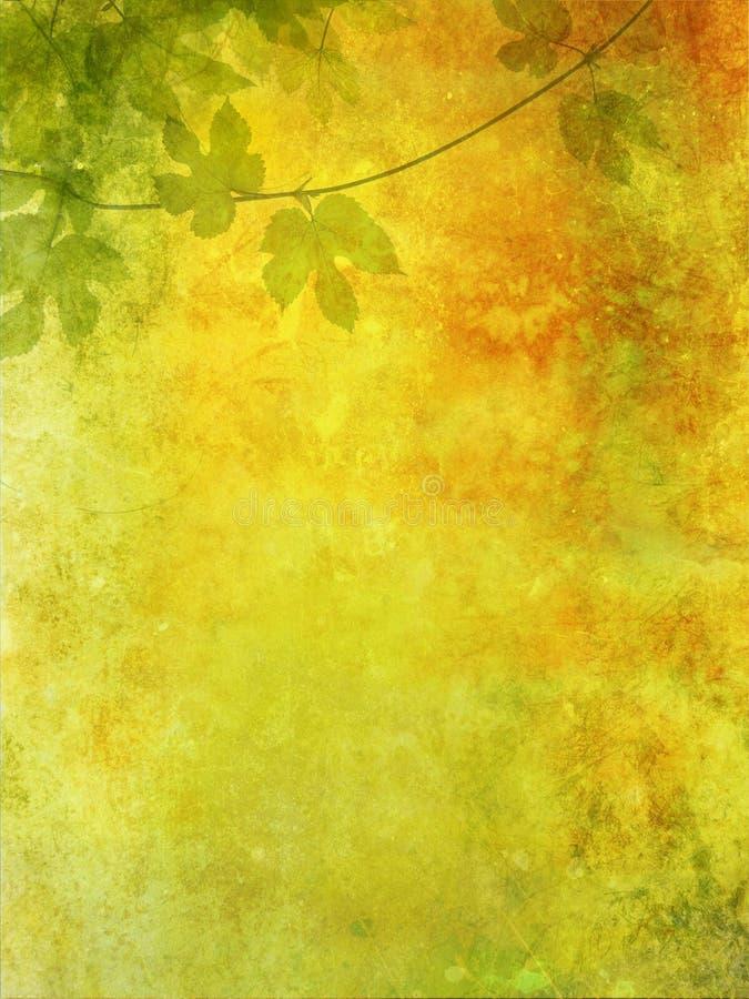 Priorità bassa di Grunge con i fogli dell'uva royalty illustrazione gratis