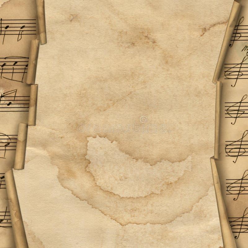 Priorità bassa di Grunge con il bordo di musica per il disegno illustrazione vettoriale