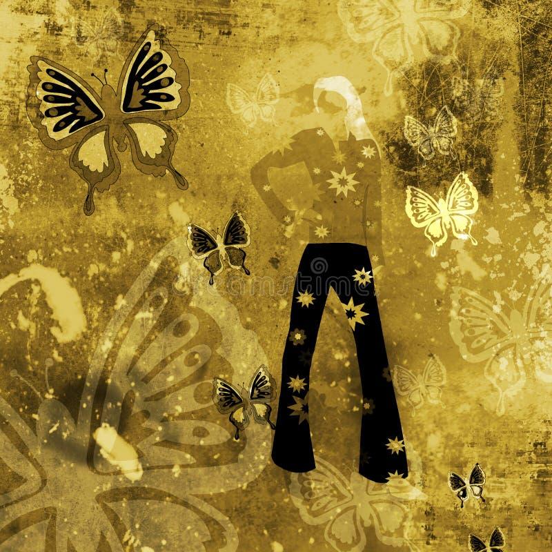 Priorità bassa di Grunge con le farfalle illustrazione di stock