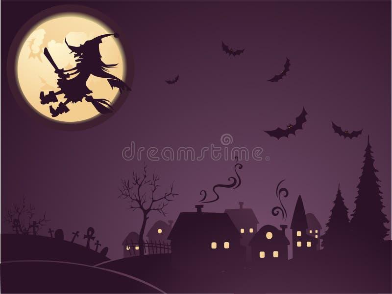 Priorità bassa di Halloween con la strega illustrazione di stock
