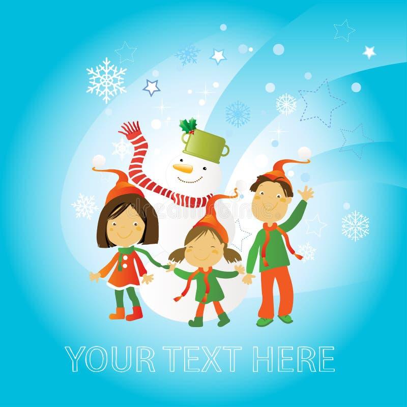 Download Priorità Bassa Di Inverno - Bambini Illustrazione Vettoriale - Illustrazione di esterno, felicità: 7308564