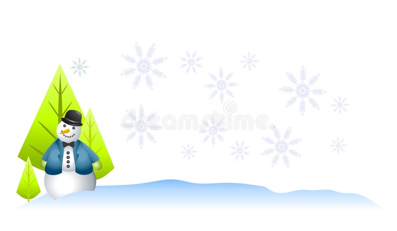Priorità bassa di inverno del pupazzo di neve illustrazione di stock