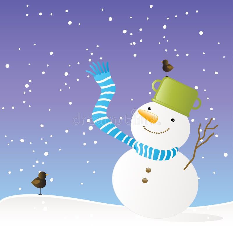 Priorità bassa di inverno del pupazzo di neve illustrazione vettoriale