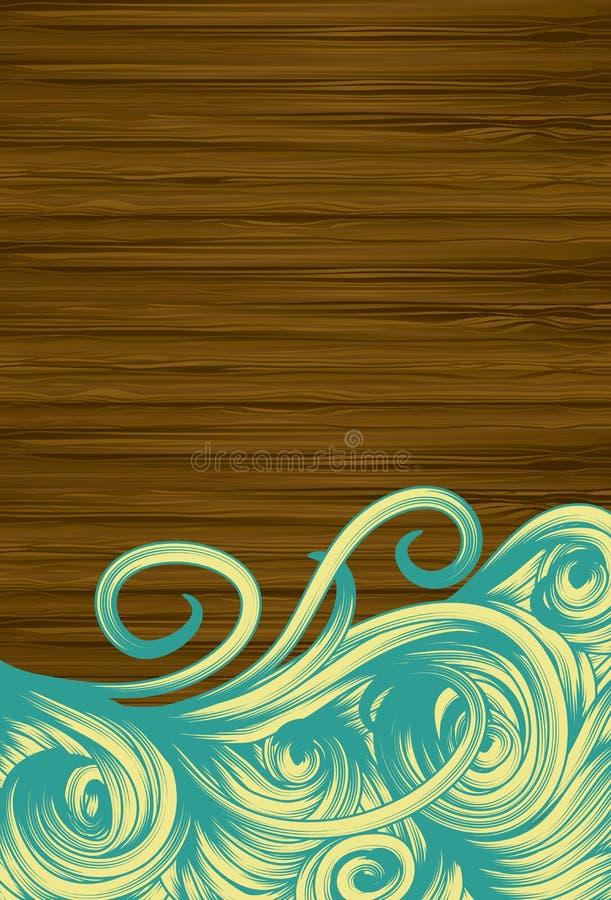 Priorità bassa di legno di Grunge con i turbinii disegnati a mano illustrazione di stock