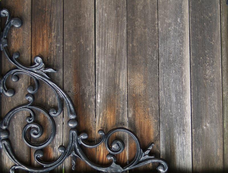 Priorità bassa di legno e del ferro di Grunge fotografia stock