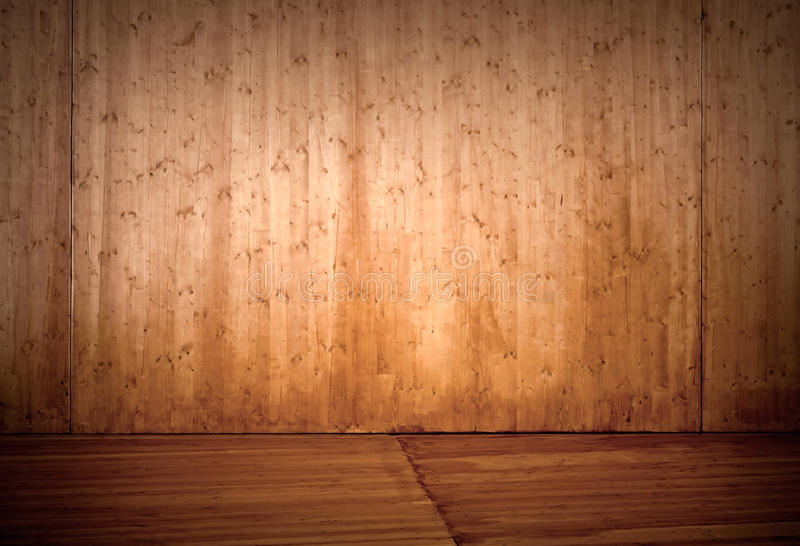Priorità bassa di legno vuota dell'interiore della fase immagine stock libera da diritti