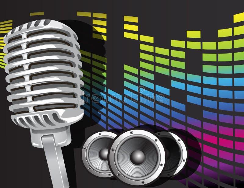 Priorità bassa di musica con il microfono illustrazione vettoriale