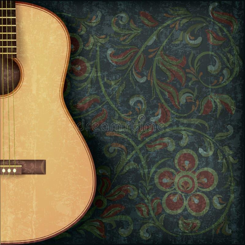 Priorità bassa di musica con la chitarra e l'ornamento floreale illustrazione di stock