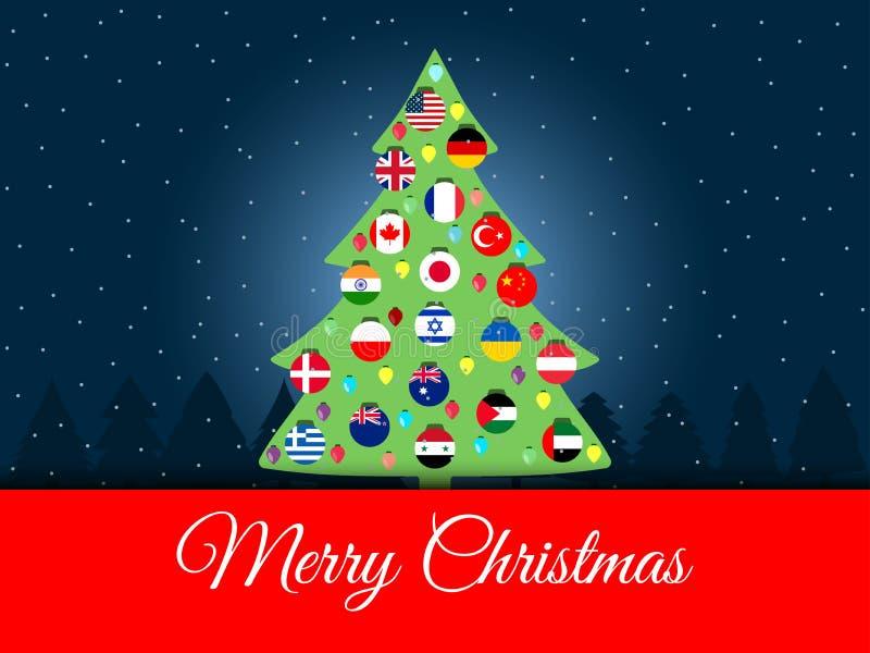 Priorità bassa di natale Albero di Natale internazionale Bandierine del mondo Vettore illustrazione di stock