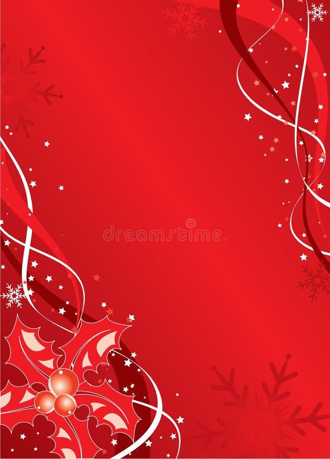 Priorità bassa di natale con il vischio ed i fiocchi di neve, vettore illustrazione di stock
