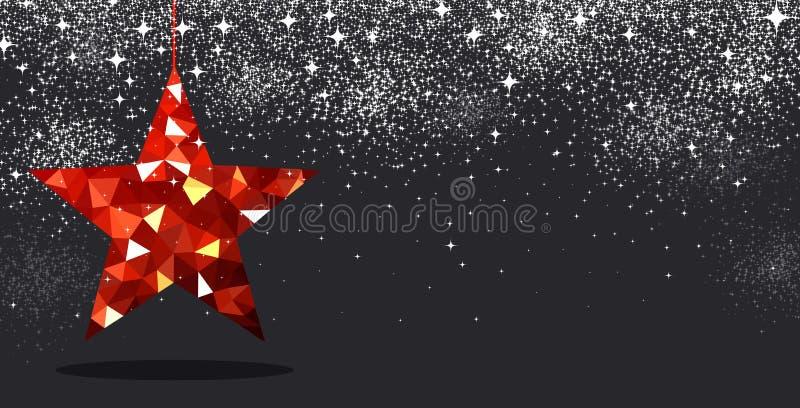 Priorità bassa di natale con la stella rossa royalty illustrazione gratis