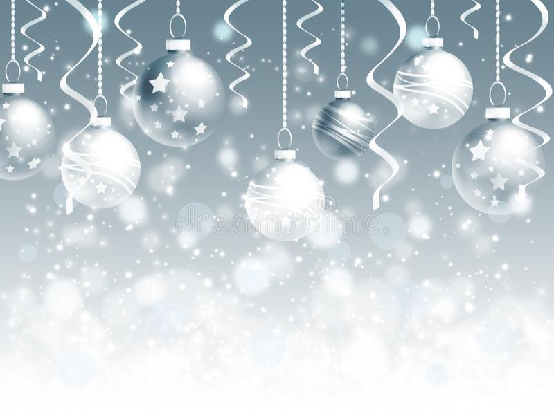 Priorità bassa di natale con le sfere ed i fiocchi di neve royalty illustrazione gratis