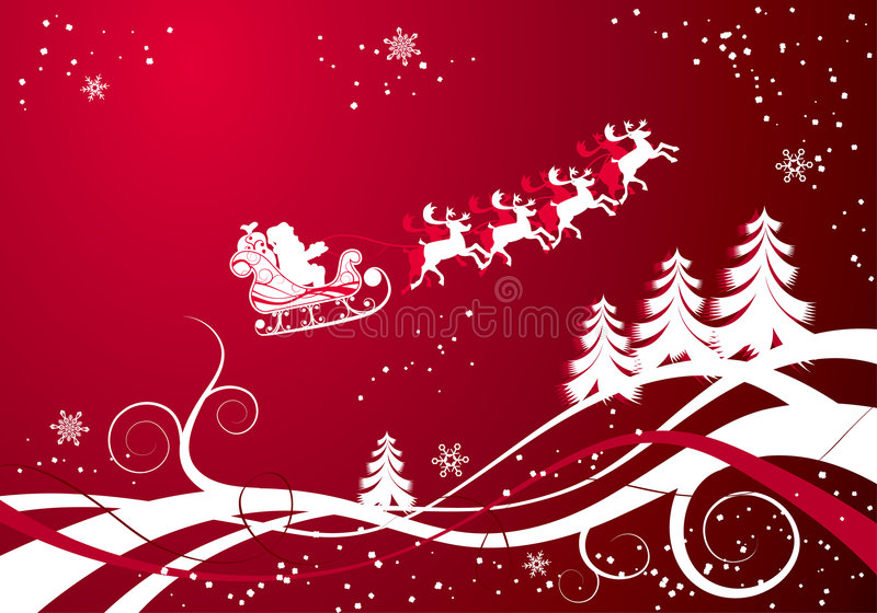 Priorità bassa di natale con Santa e i deers, vettore illustrazione vettoriale