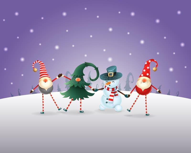 Priorità bassa di natale Gli amici felici tre Gnomi e pupazzo di neve celebrano il Natale ed il nuovo anno Paesaggio viola di inv illustrazione vettoriale