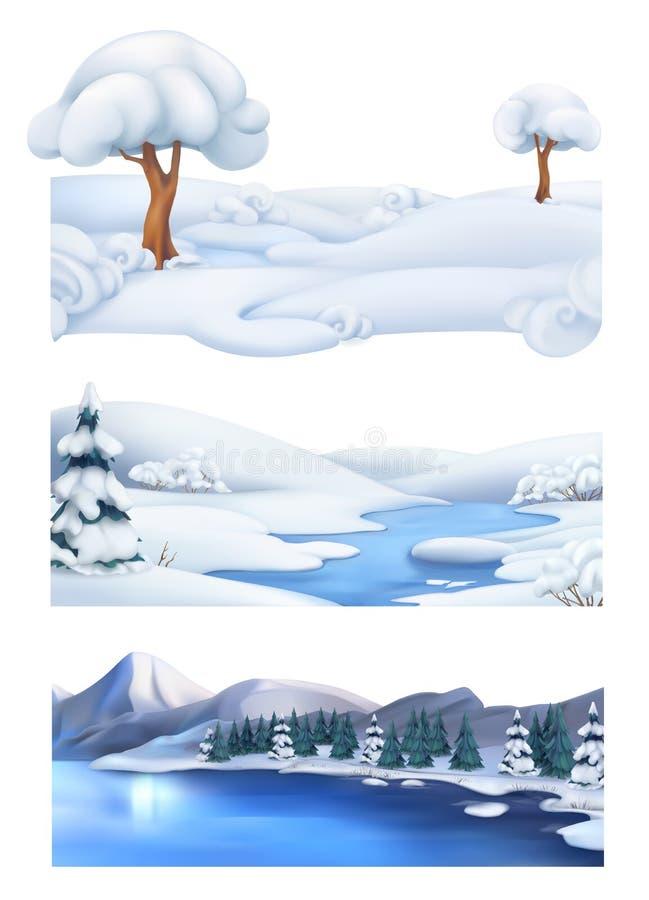 Priorità bassa di natale Paesaggio di inverno Insieme dell'insegna di vettore illustrazione di stock