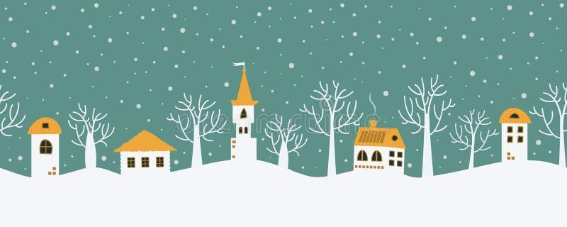 Priorità bassa di natale Paesaggio di inverno di fiaba Bordo senza giunte illustrazione vettoriale
