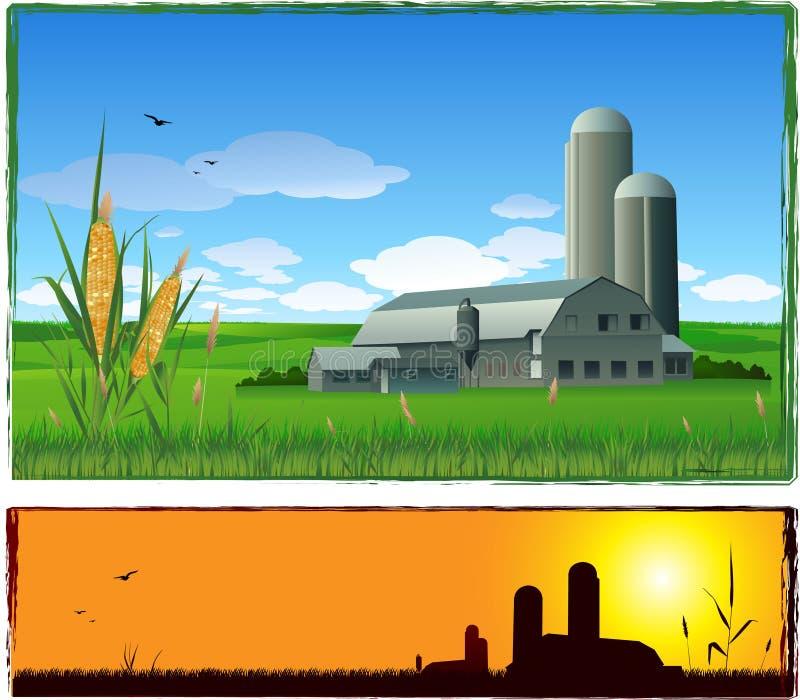 Priorità bassa di paesaggio dell'azienda agricola di vettore illustrazione di stock