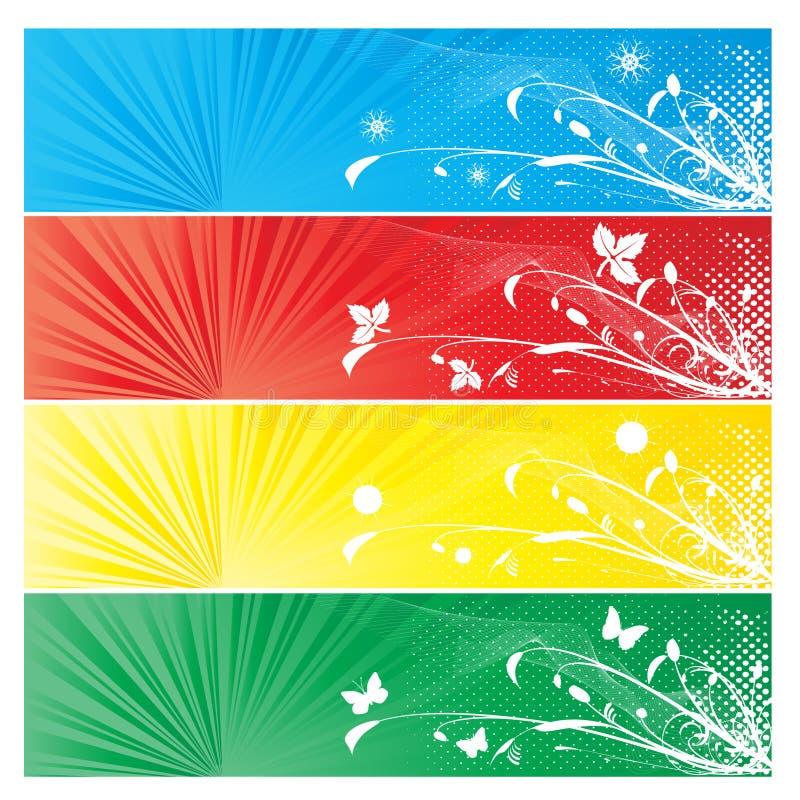 Priorità bassa di quattro stagioni della bandiera illustrazione di stock