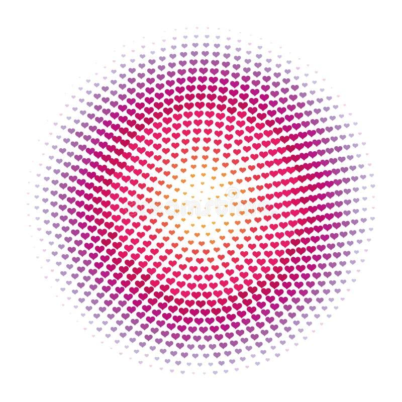 Priorità bassa di semitono astratta del reticolo di puntini del cuore royalty illustrazione gratis