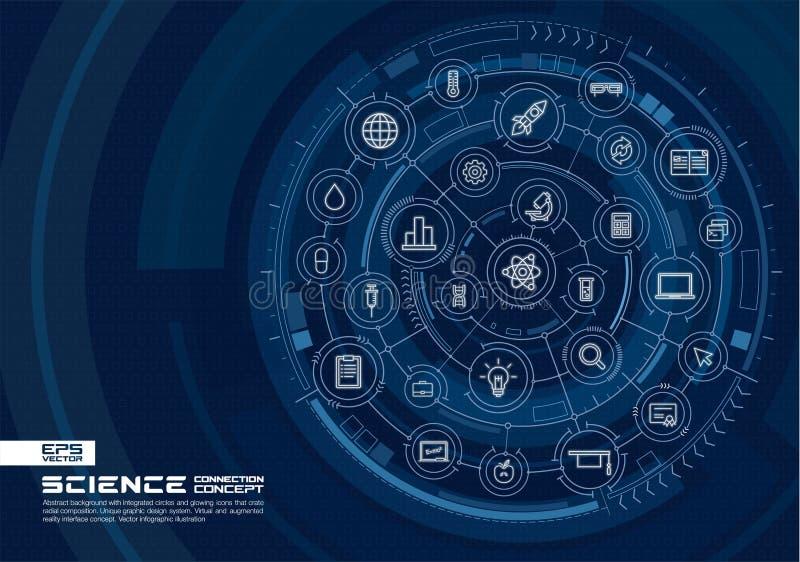 Priorità bassa di tecnologia di scienza astratta Digital collega il sistema con i cerchi integrati, linea sottile d'ardore icone illustrazione di stock