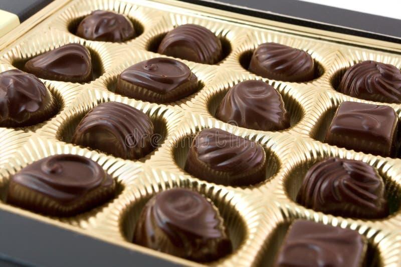 Priorità bassa di una scatola di cioccolato fotografia stock