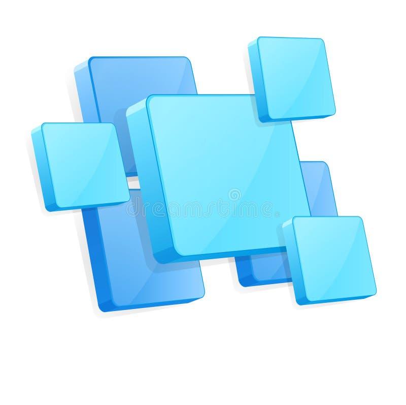 Priorità bassa di vettore con i comitati blu 3D illustrazione vettoriale