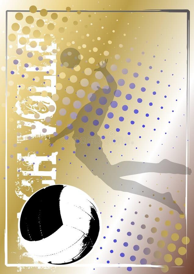Priorità bassa dorata 5 del manifesto di pallavolo royalty illustrazione gratis