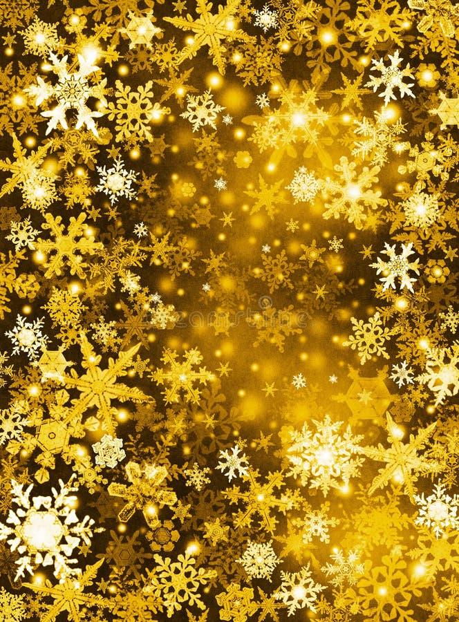 Priorità bassa dorata della neve fotografia stock
