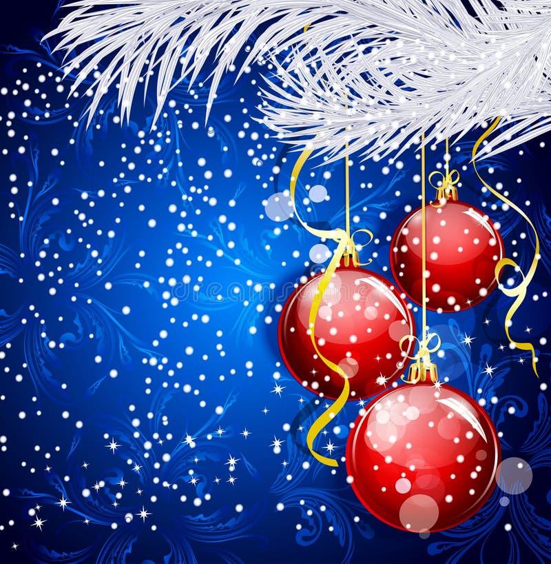 Priorità bassa festiva di natale blu con le sfere rosse royalty illustrazione gratis