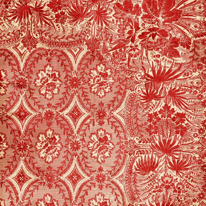 Priorità bassa floreale antica rossa del damasco illustrazione vettoriale