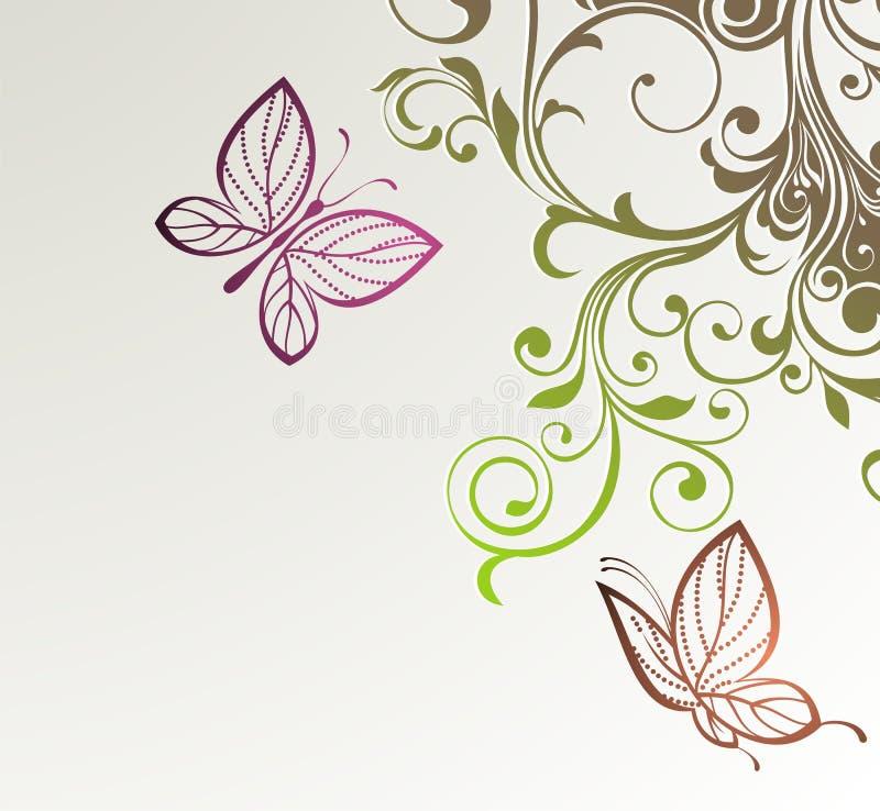 Priorità bassa floreale astratta con le farfalle royalty illustrazione gratis