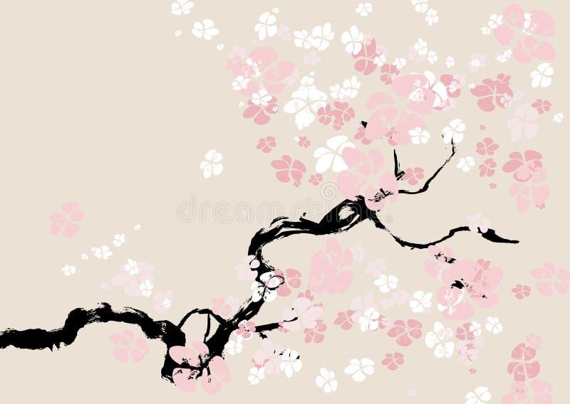 Priorità bassa floreale astratta. fiore di ciliegia. illustrazione vettoriale