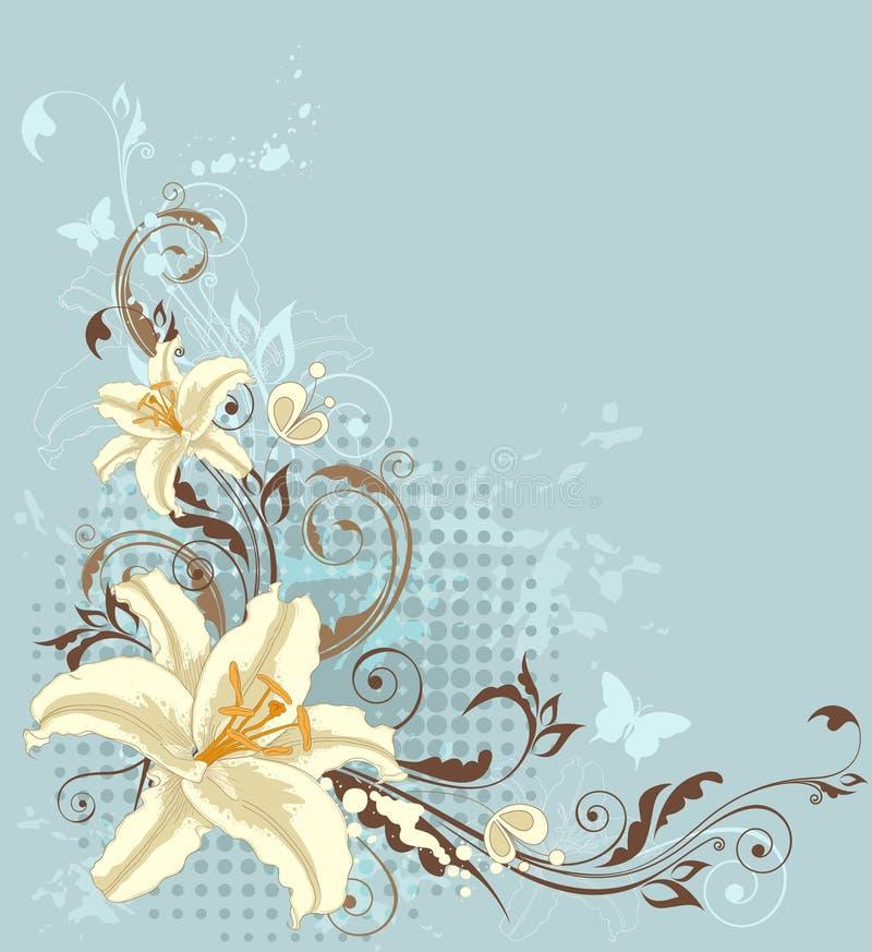 Priorità bassa floreale blu con il giglio illustrazione vettoriale