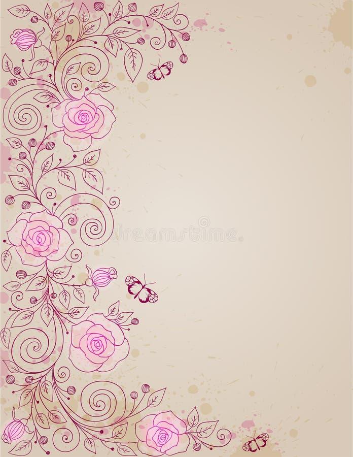 Priorità bassa floreale con di rosa e le farfalle illustrazione vettoriale