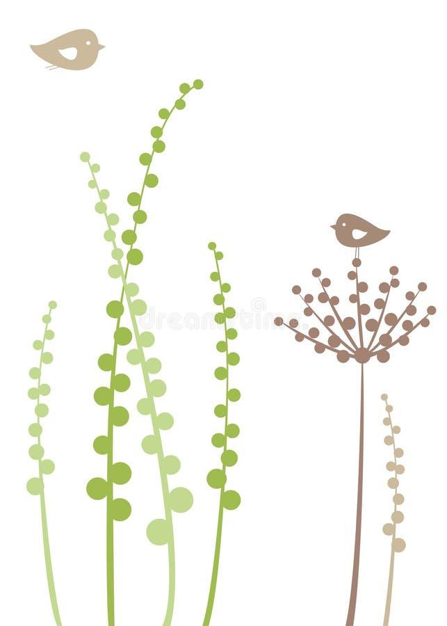 Priorità bassa floreale con gli uccelli illustrazione di stock