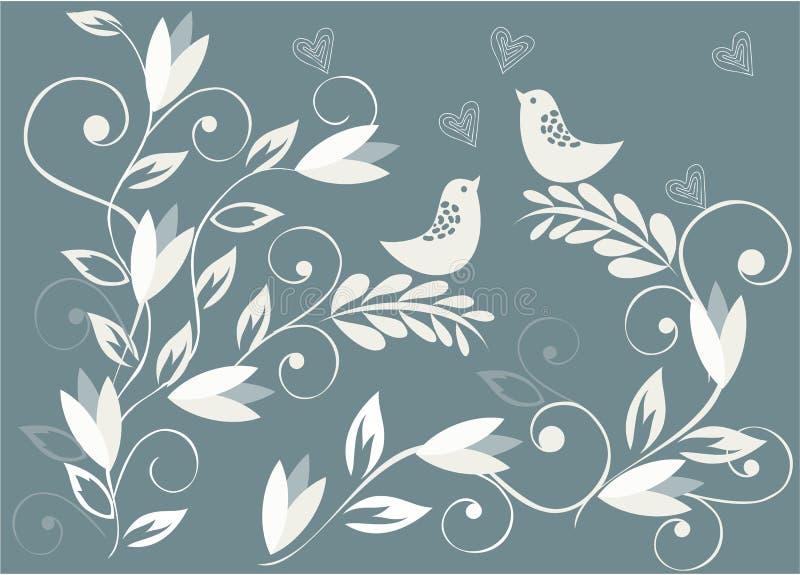 Priorità bassa floreale con gli uccelli nel vettore illustrazione vettoriale