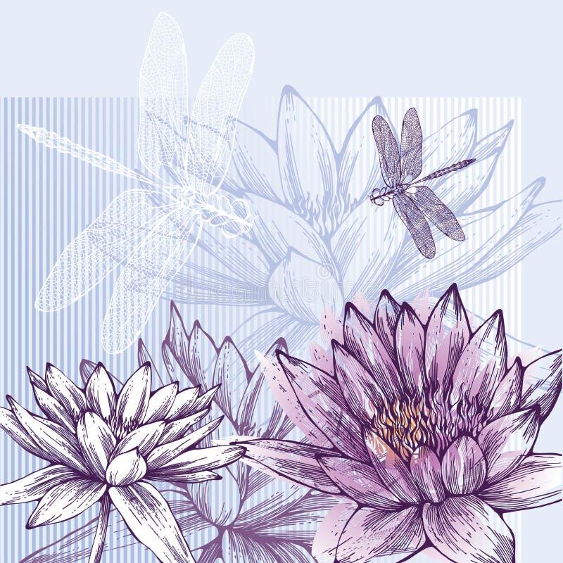 Priorità bassa floreale con i gigli di acqua di fioritura e la d illustrazione vettoriale