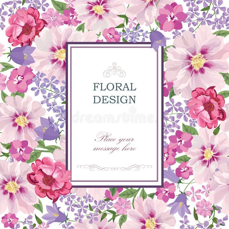 Priorità bassa floreale Copertura d'annata del mazzo del fiore Carta da parati del reticolo di Flourish illustrazione vettoriale