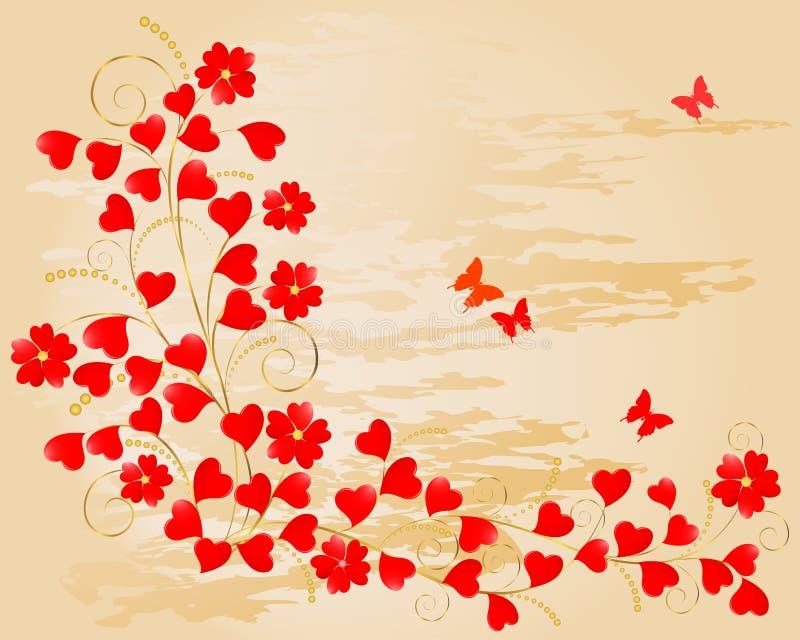 Priorità bassa floreale del biglietto di S. Valentino. royalty illustrazione gratis