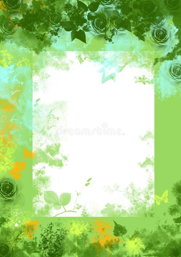 Priorità bassa floreale del grunge della sorgente verde royalty illustrazione gratis