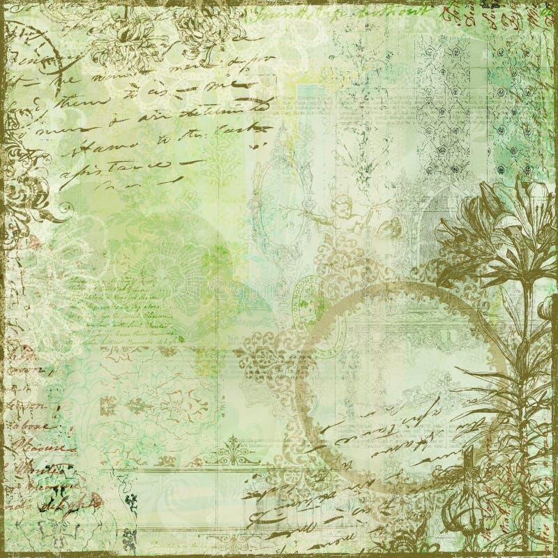 Priorità bassa floreale dell'album del collage dell'annata illustrazione vettoriale