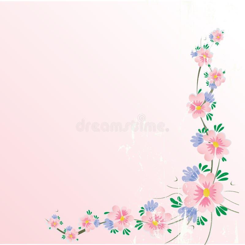 Priorità bassa floreale dell'angolo del fiore di ciliegia con grung royalty illustrazione gratis