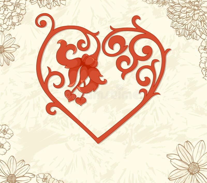 Priorità bassa floreale dell'annata con cuore illustrazione vettoriale