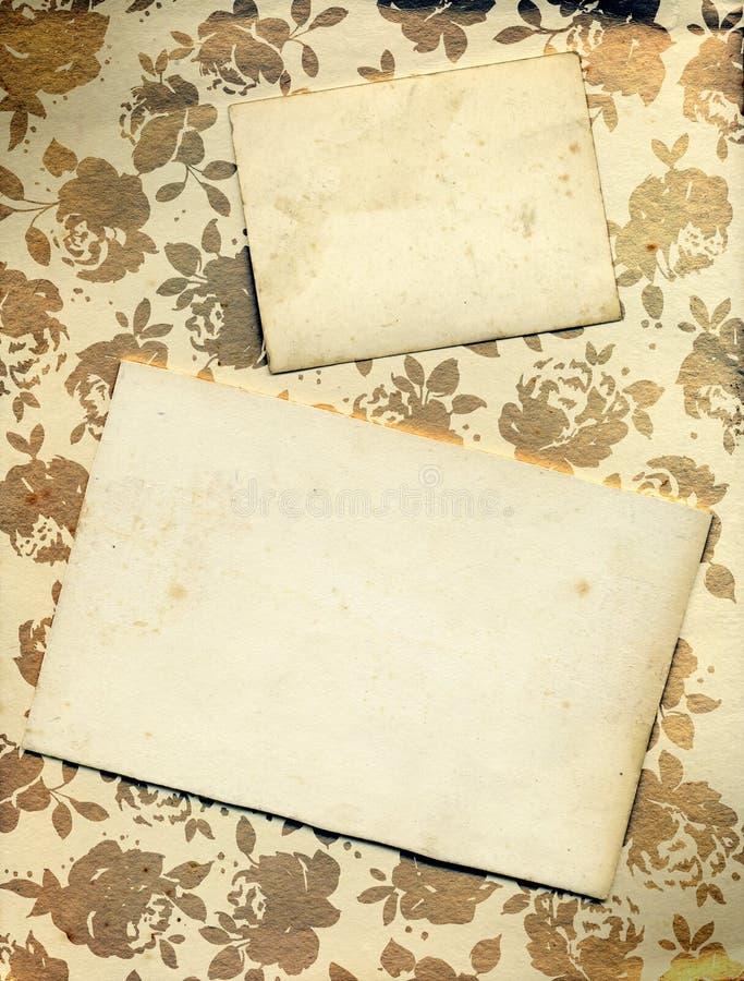 Priorità bassa floreale della Rosa con le schede dell'annata royalty illustrazione gratis