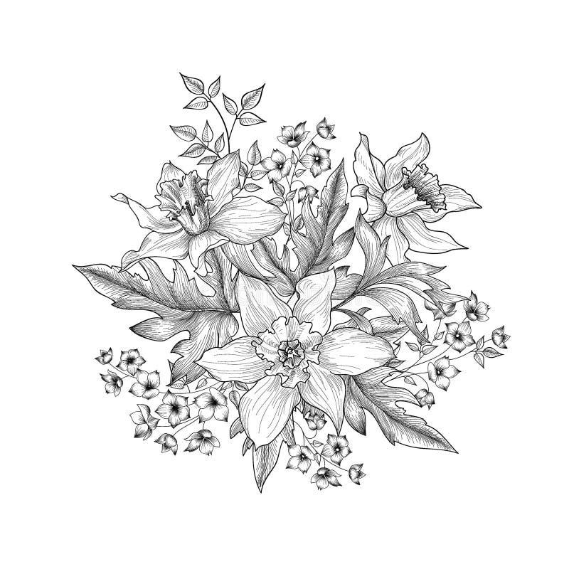 Priorità bassa floreale Fiori e foglie che incidono Fiori di estate illustrazione di stock